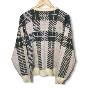 Vintage Checkered Plaid Oversized Knit Sweater